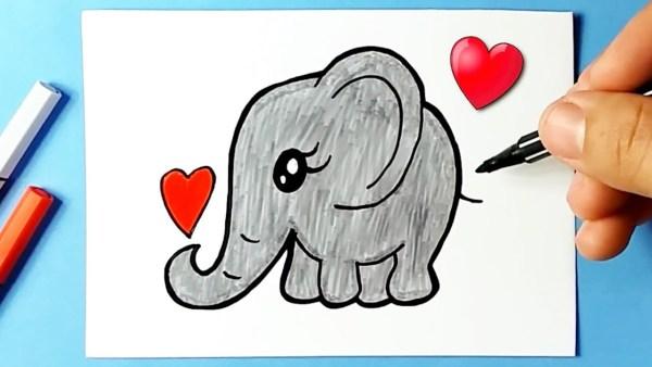 Desenho do elefante Kawaii