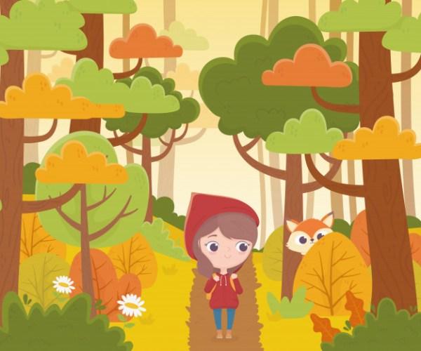 A história, chapeuzinho vermelho na floresta.