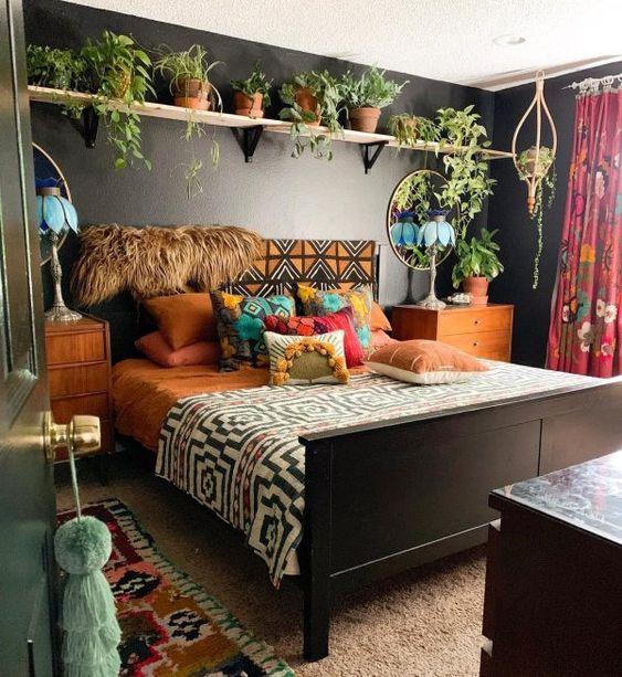 Decoração de quarto com jardim.