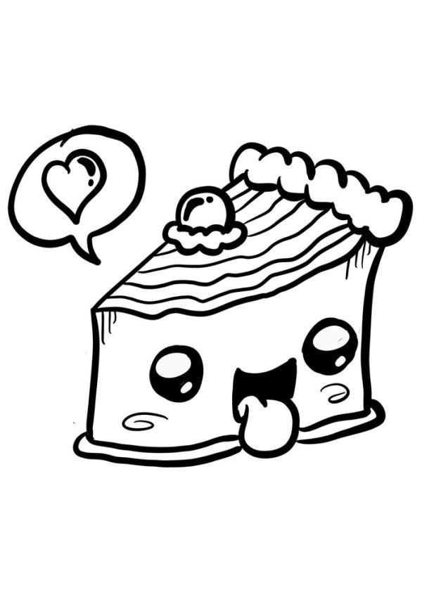 kawaii para colorir torta