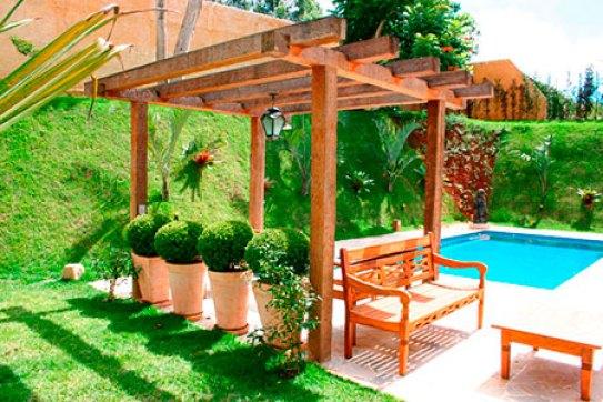 design do jardim com madeira