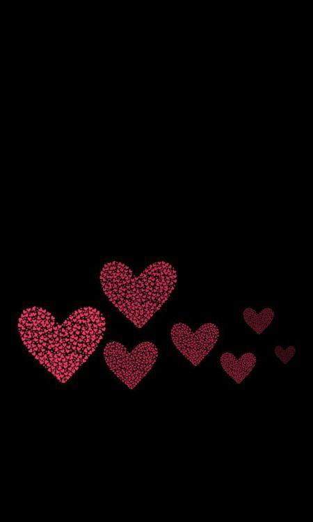 Papel de parede preto com corações