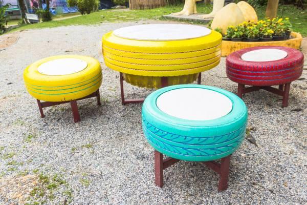 artesanato mesa e cadeiras de pneus