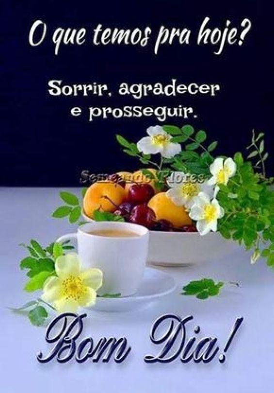 Bom dia com café agradecer e seguir