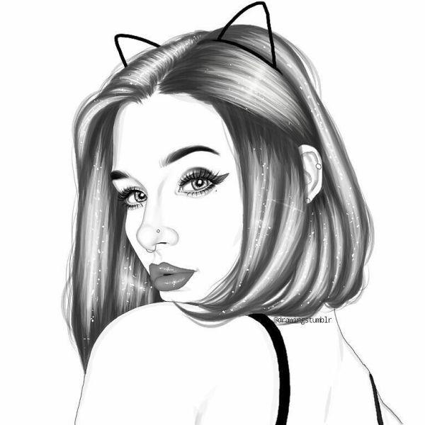 desenho realista  gatinha