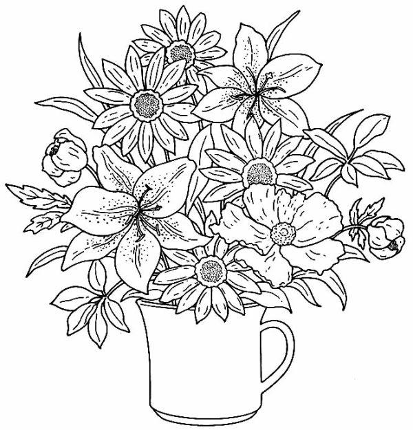 desenho de flores três
