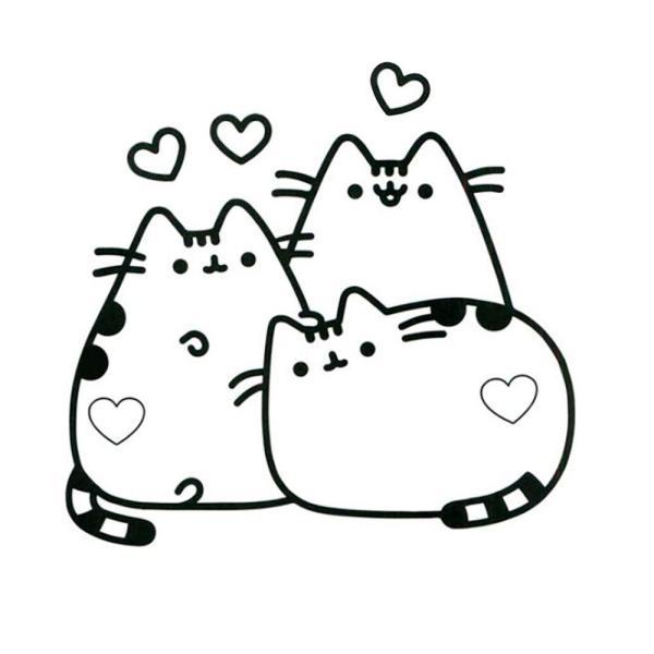 Imagens com trio de gatinhos para pintar