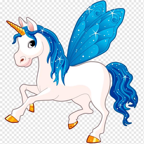 Desenho lindo unicórnio com asas azul