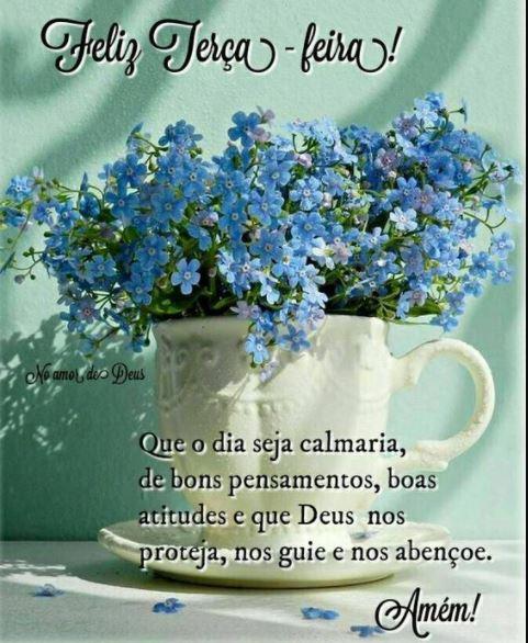 Frase com flores de feliz terça-feira