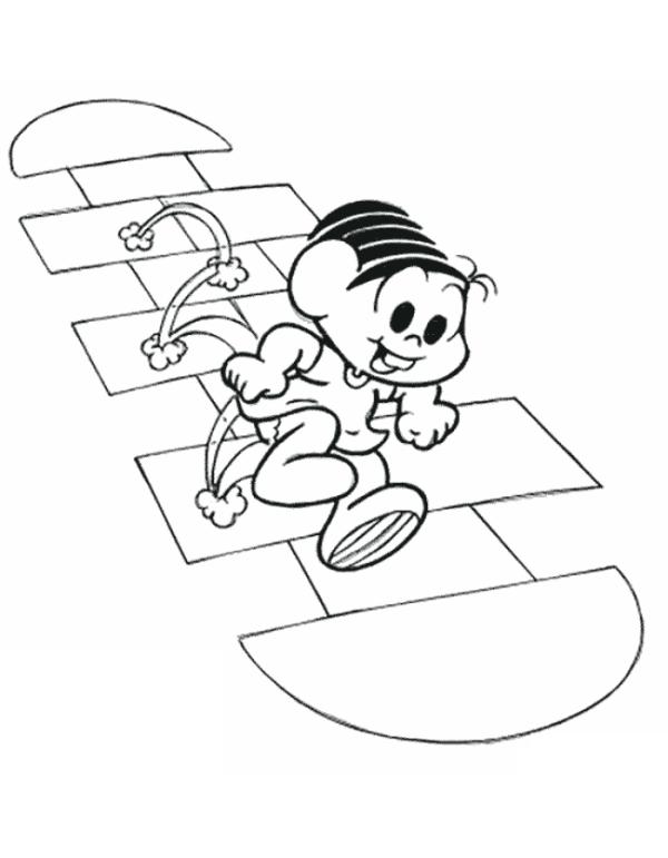 Desenho turma da Mônica brincando de amarelinha