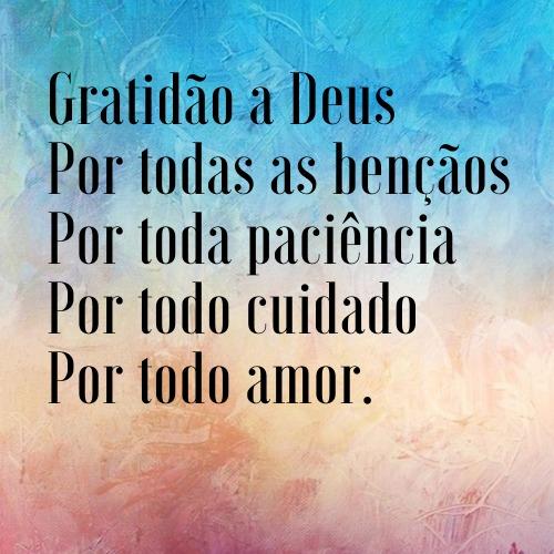 Frase com gratidão para agradecer a Deus por tudo
