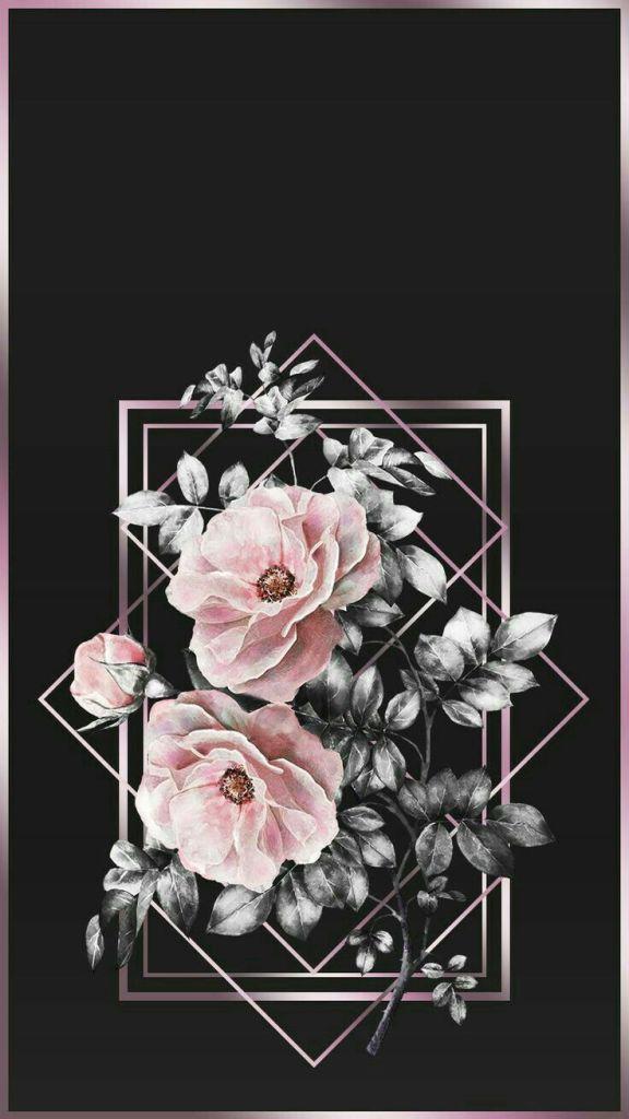 Floral Papel de parede preto