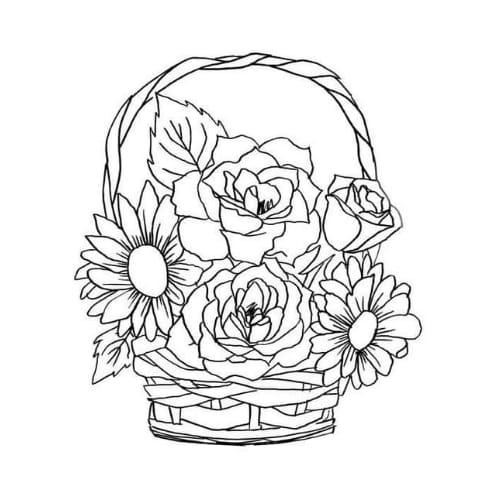 Desenho para colorir, imprimir e se divertir com flores