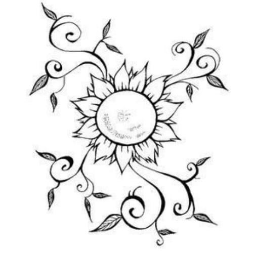Desenho com belas flores para imprimir  e colorir
