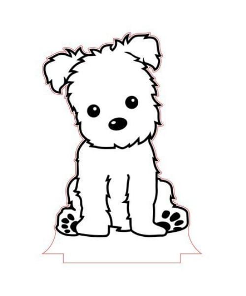 Imagem de desenho para se divertir colorindo um cachorro fofo