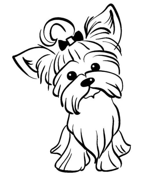 Imagem com desenho fofo e divertido de cachorro lindo para pintar