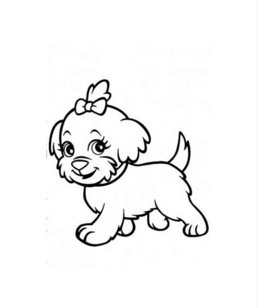 Desenho fofo de cachorro para se divertir e pintar