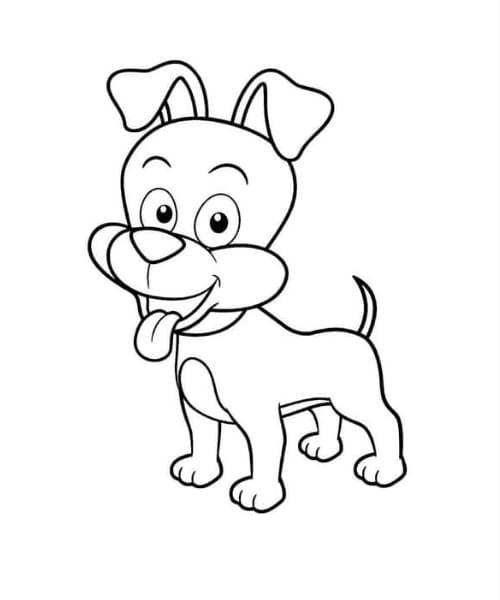 Imagem linda com desenho de cachorro fofo para colorir