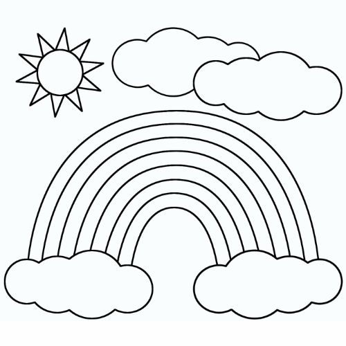 Desenhos de Arco-íris Sol e Nuvens fofo
