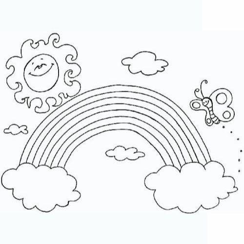 Desenhos de Arco-íris Sol e Nuvens pintar