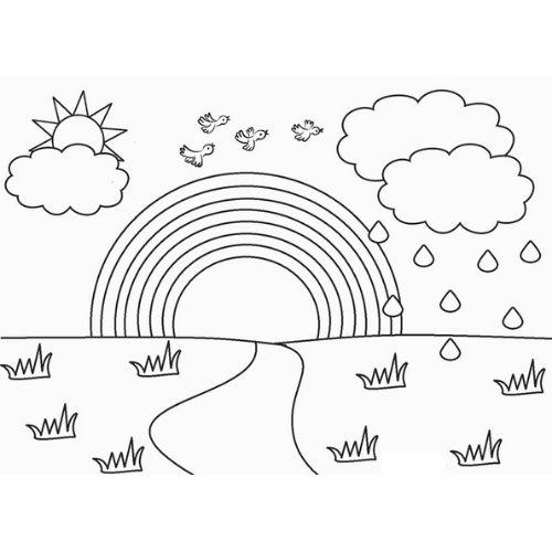 Desenhos de Arco-íris Sol e Nuvens e grama