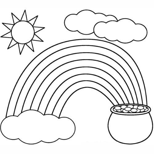 Desenhos de Arco-íris Sol e Nuvens ouro