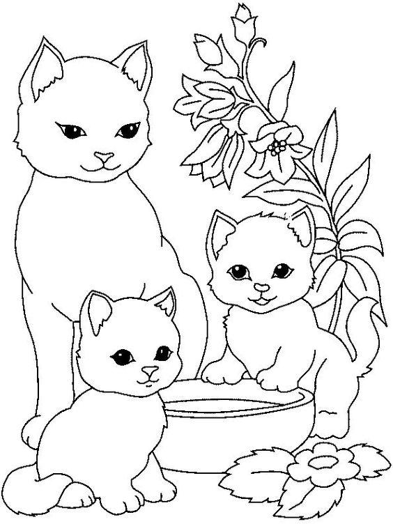 Desenhos de gatos para pintar com flores