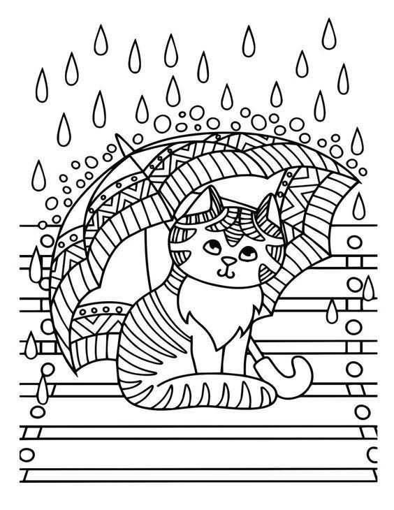 Desenhos de gatos para pintar fáceis