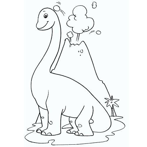 dinossauros para colorir dino e vulcão