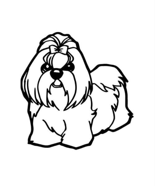 Desenho fofo de cachorro para pintar