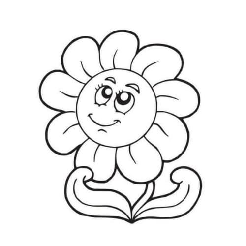Desenho de uma flor linda e feliz para colorir e imprimir