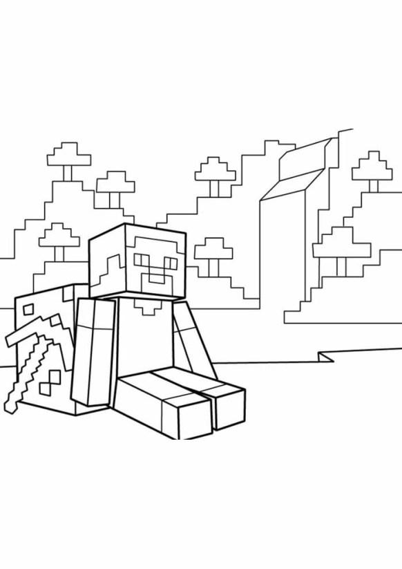desenhos  Minecraft sentado