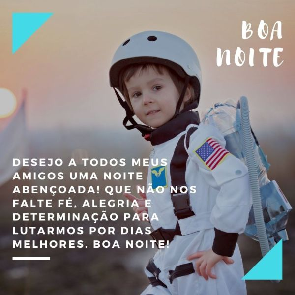 boa noite abençoado menino astronauta