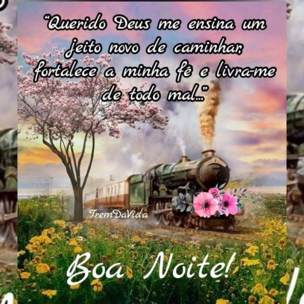boa noite abençoado com trem florido