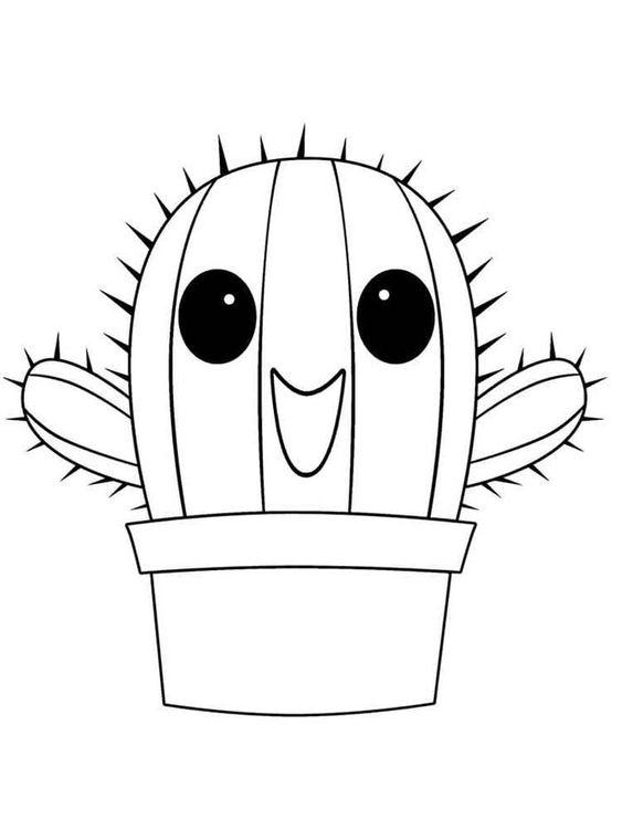 Desenho cacto kawaii
