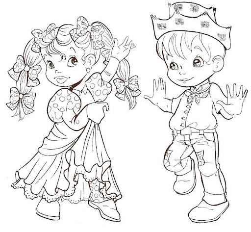 Desenhos de festa junina para colorir quadrilha