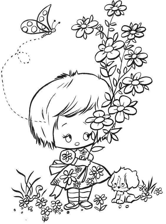Desenho bonequinha com flores