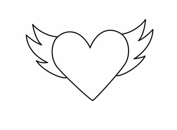 Desenhos de coração para colorir asas