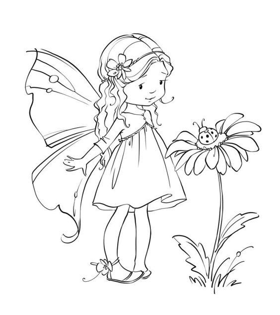 Desenho de uma fada com flor
