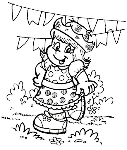 Desenhos de festa junina para colorir caipira