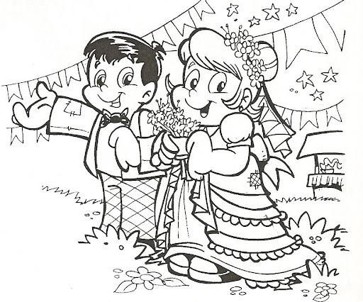 Desenhos de festa junina para colorir casamento