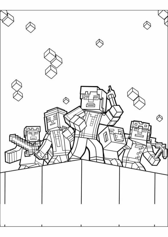 desenhos  Minecraft hora de lutar