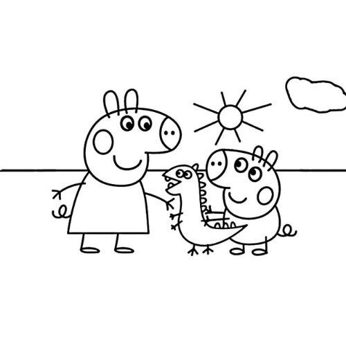 peppa pig para colorir george e dinossauro