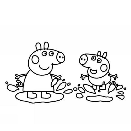 peppa pig para colorir diversão na poça