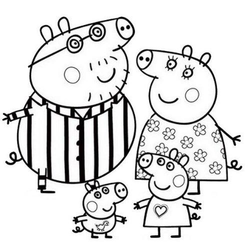 peppa pig para colorir festa do pijama
