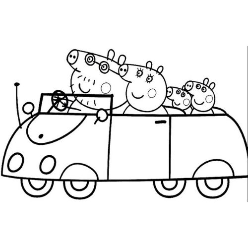 peppa pig para colorir passeio em família