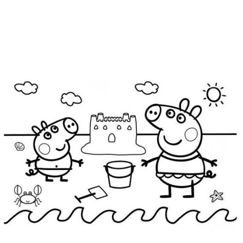 peppa pig para colorir castelo de areia