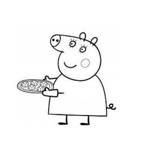 peppa pig para colorir mamãe com biscoitos