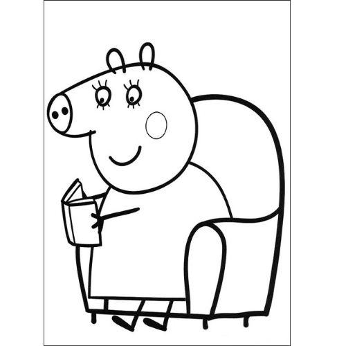 peppa pig para colorir mamãe lendo