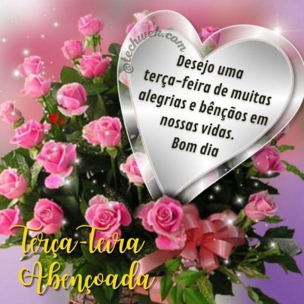 Imagens de bom dia terça-feira com fé e flores